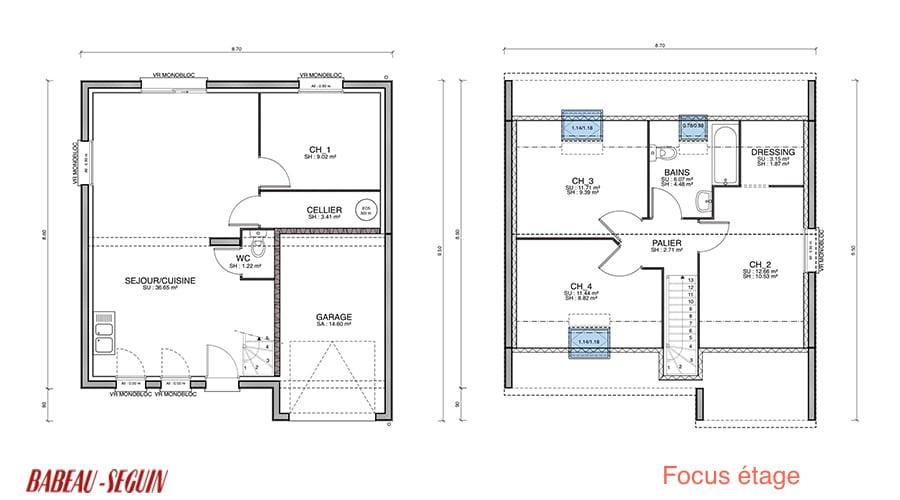 plan maison etage 85 m2