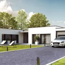 maison contemporaine moderne en L