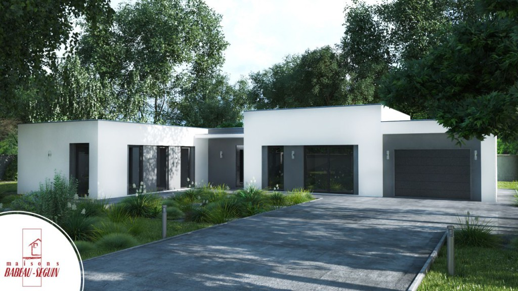 maison contemporaine et plan 3D