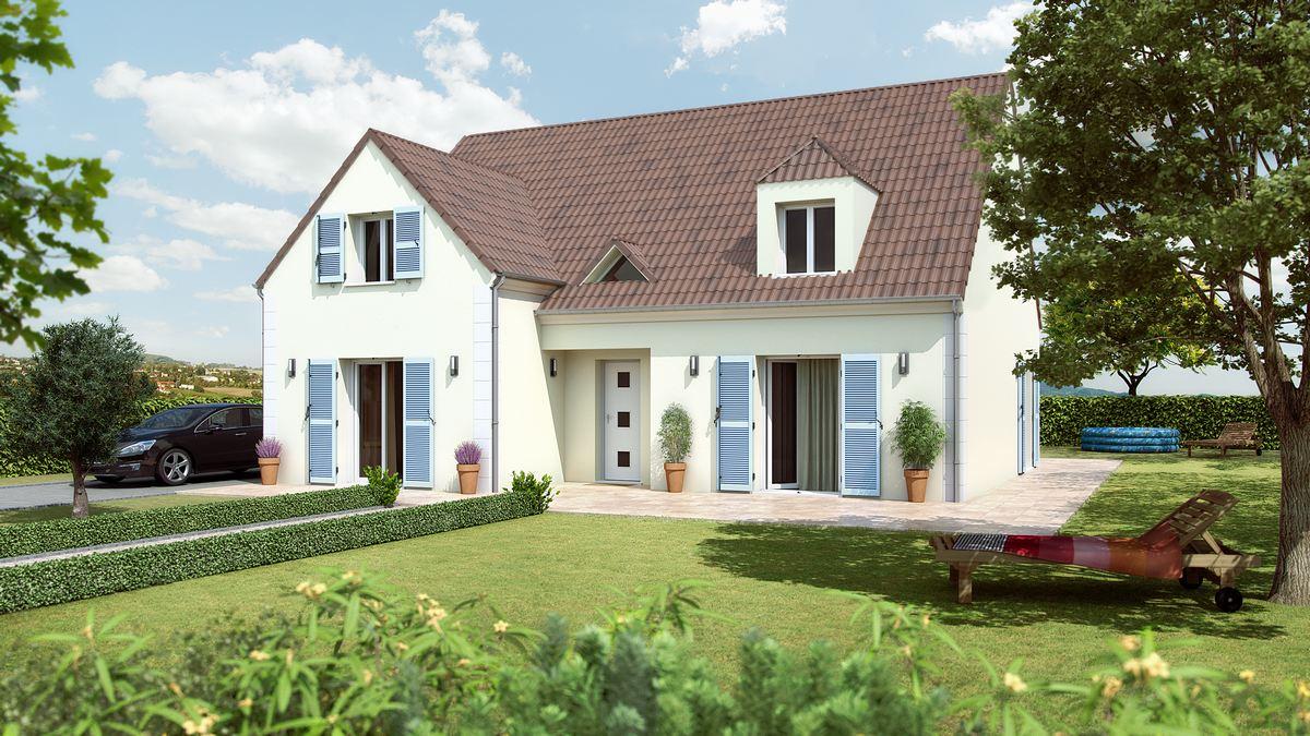 maison de prestige avec volets bleus et tour à étage