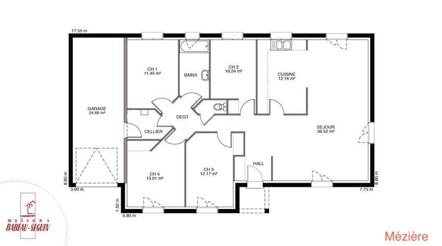 Plan Maison meziere 118m2