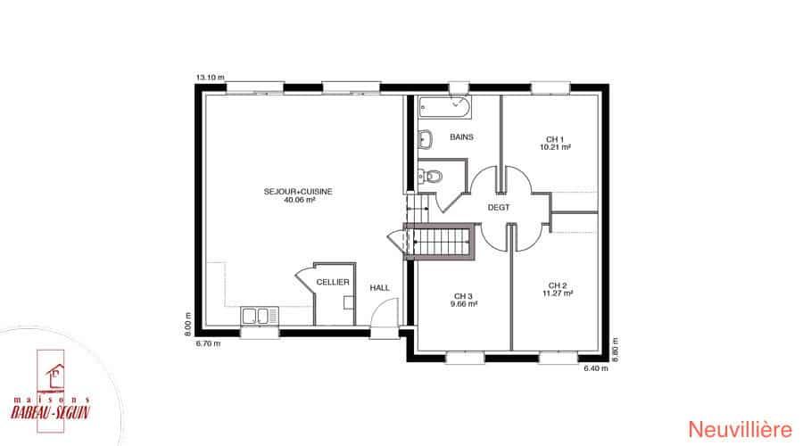 plan maison moderne demi niveau 88