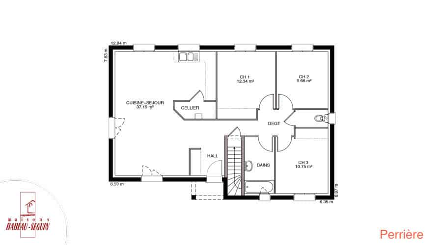 plan maison perriere 88