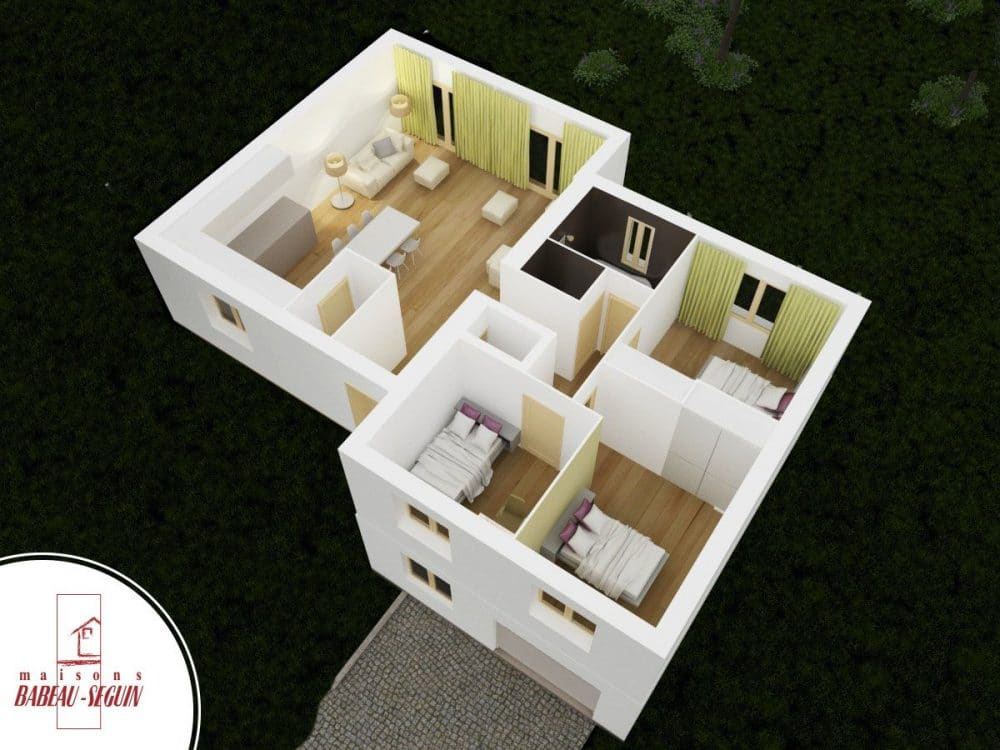 neuvili re maison moderne demi niveau. Black Bedroom Furniture Sets. Home Design Ideas
