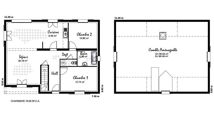 plan maison Charmière 79