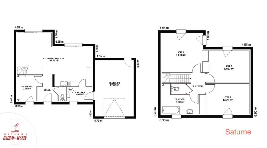 Plan maison contemporaine saturne 107,5