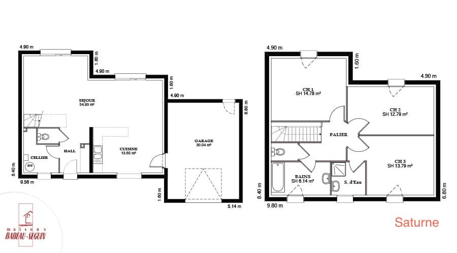 Plan maison contemporaine saturne 116,5
