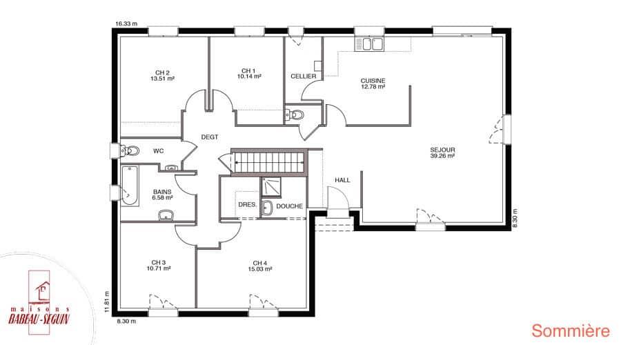 Cool dcouvrez tous les plans de ce modle de maison with for Plan maison babeau seguin