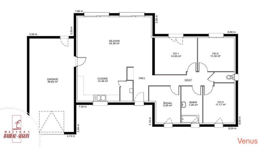 Venus maison contemporaine toit plat for Plan maison babeau seguin