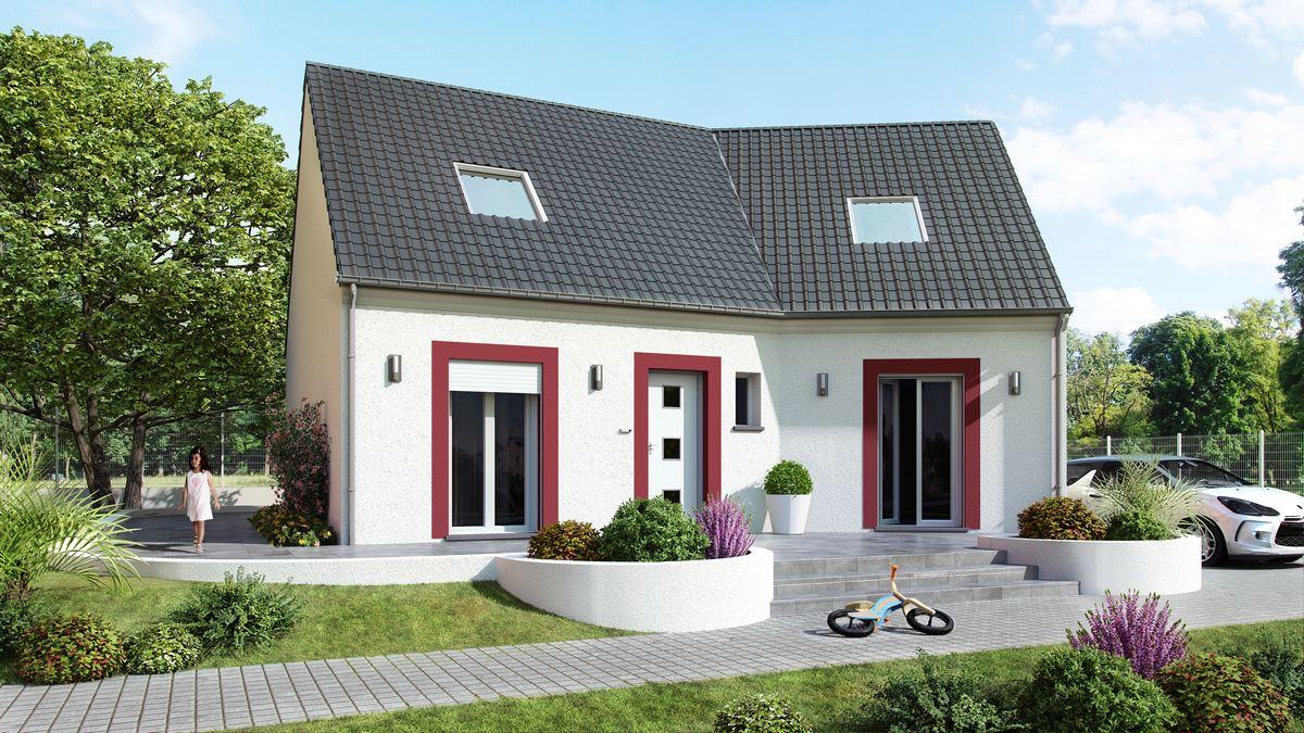 maison à etage avec plan en v et modenature enduit rouge