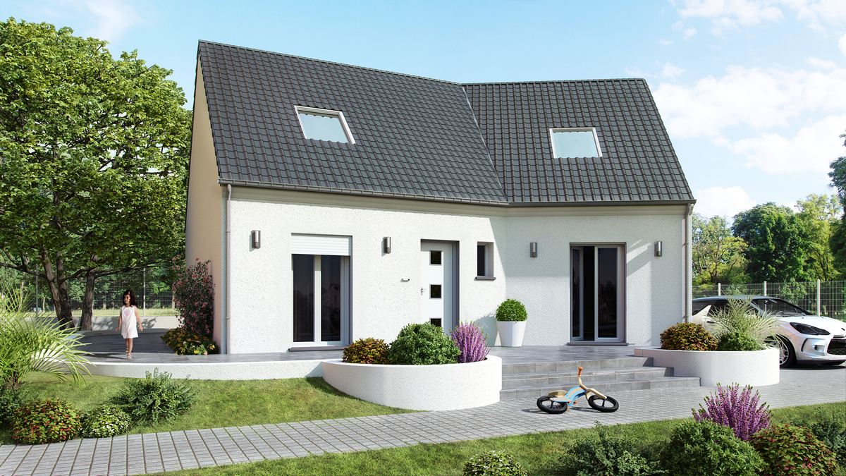 maison à etage avec plan en V