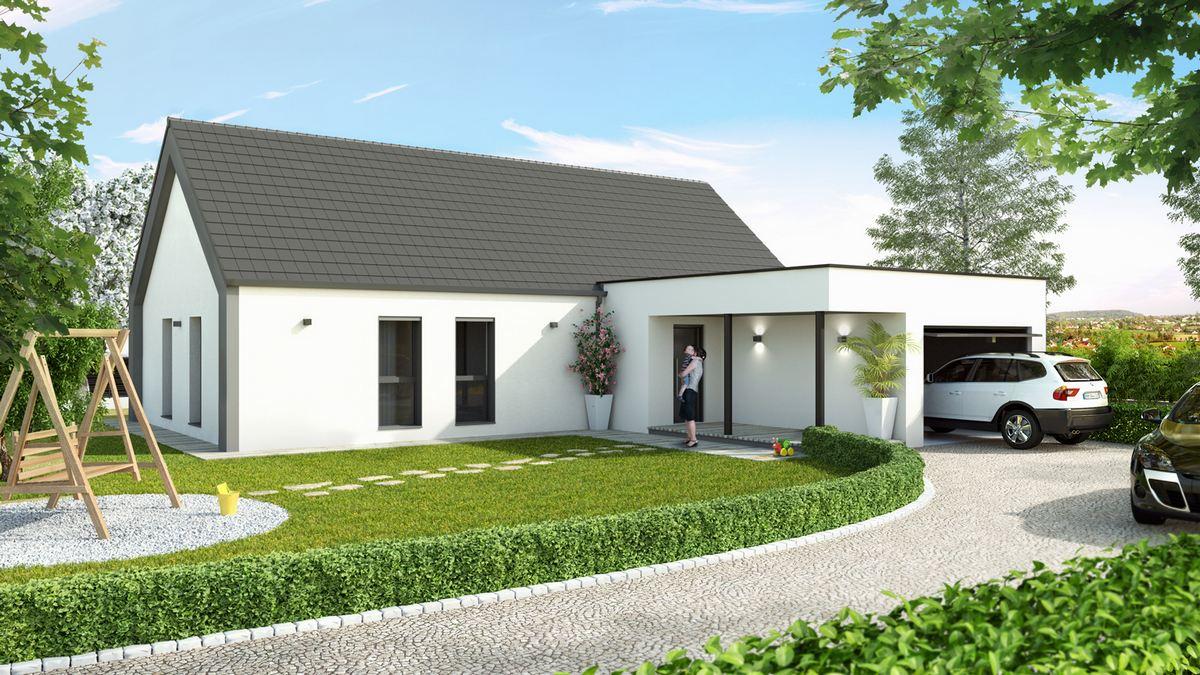 maison moderne avec plan en L et garage à toit plat