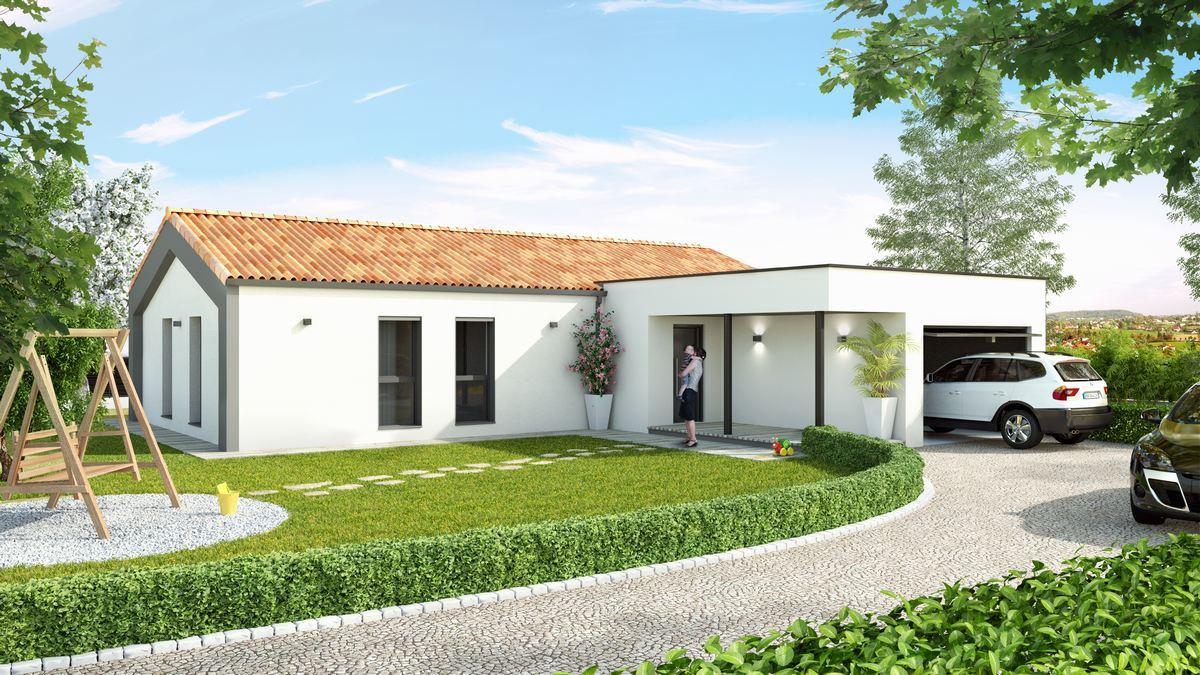 maison moderne avec plan en L et garage à toit plat version sud