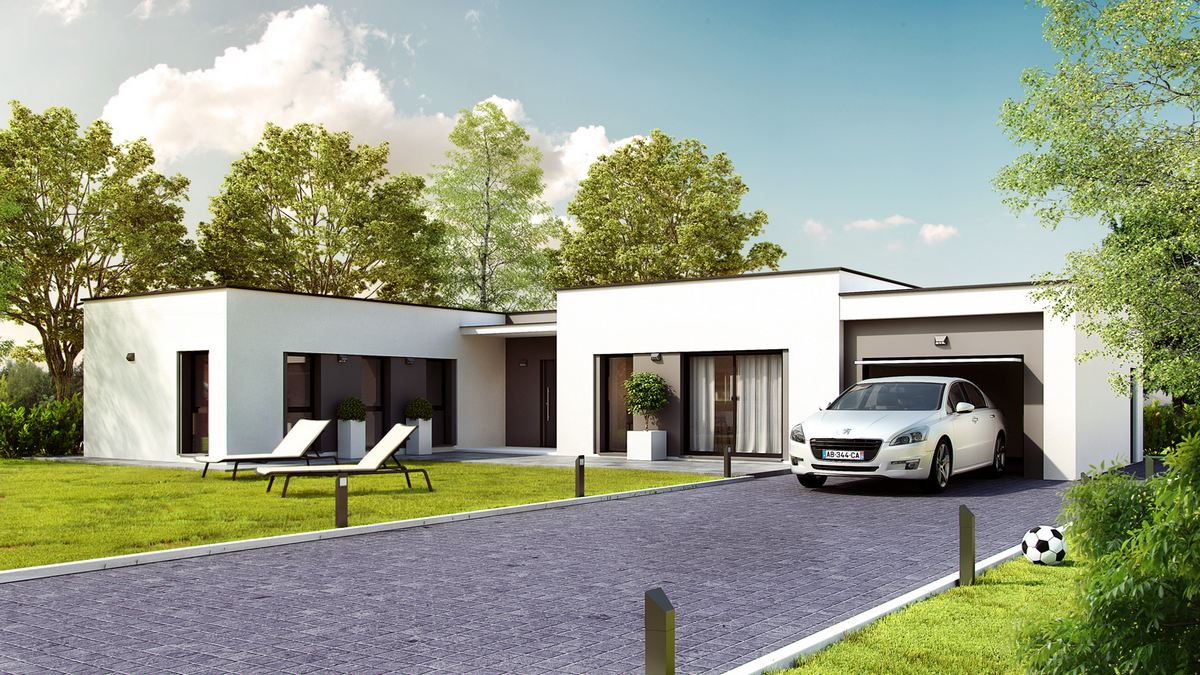 maison moderne plan en U