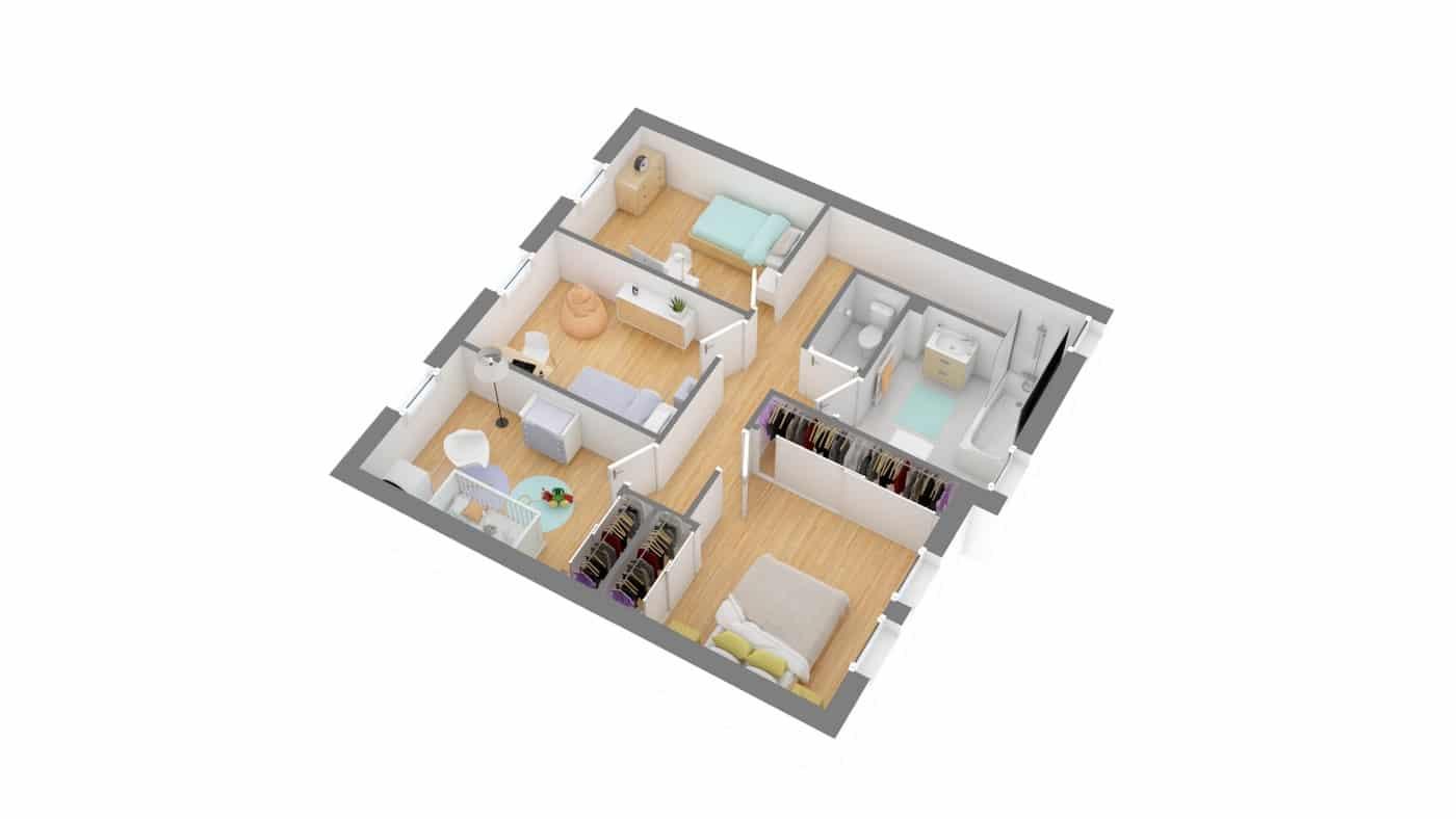 MMaisosn babeau Seguin Maison moderne contemporaine _SYMPHONIE_115-g1-axo_etage