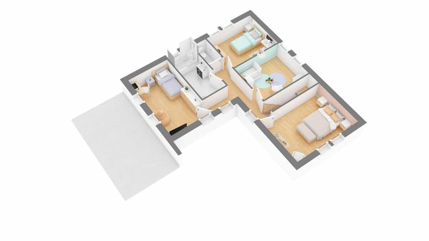 MMaisosn babeau Seguin Maison moderne contemporaine _Senza-g1-axo_etage