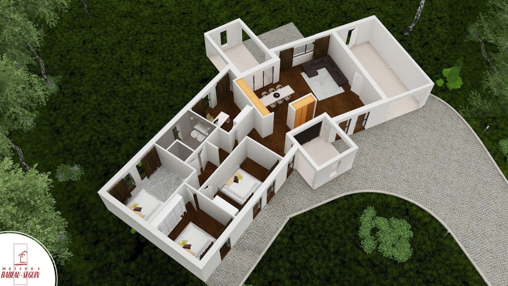 plan 3D contemporaine en V