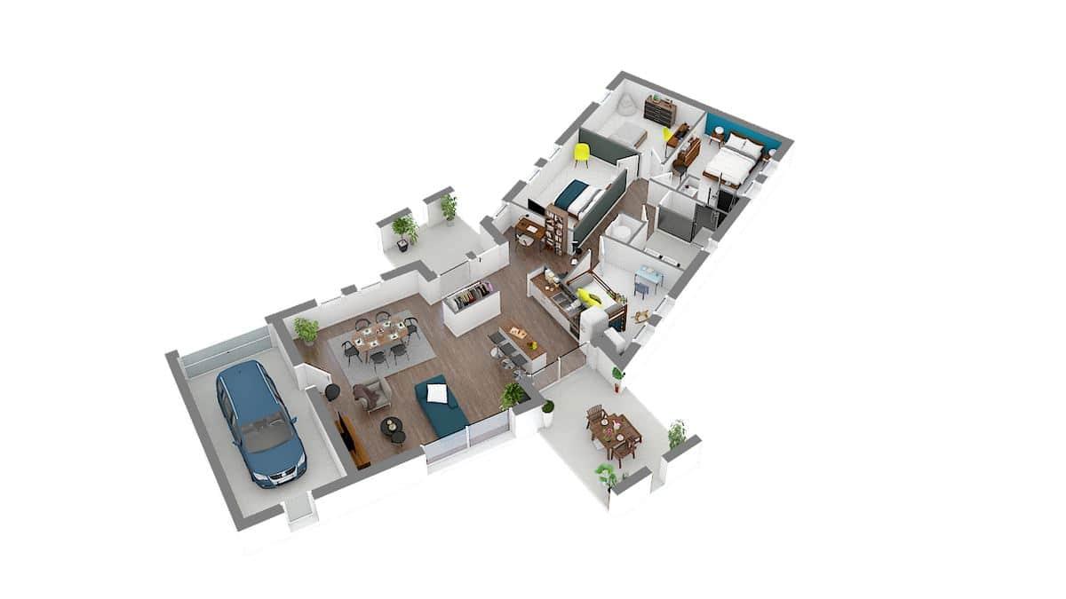 maison moderne avec plan en V_versium