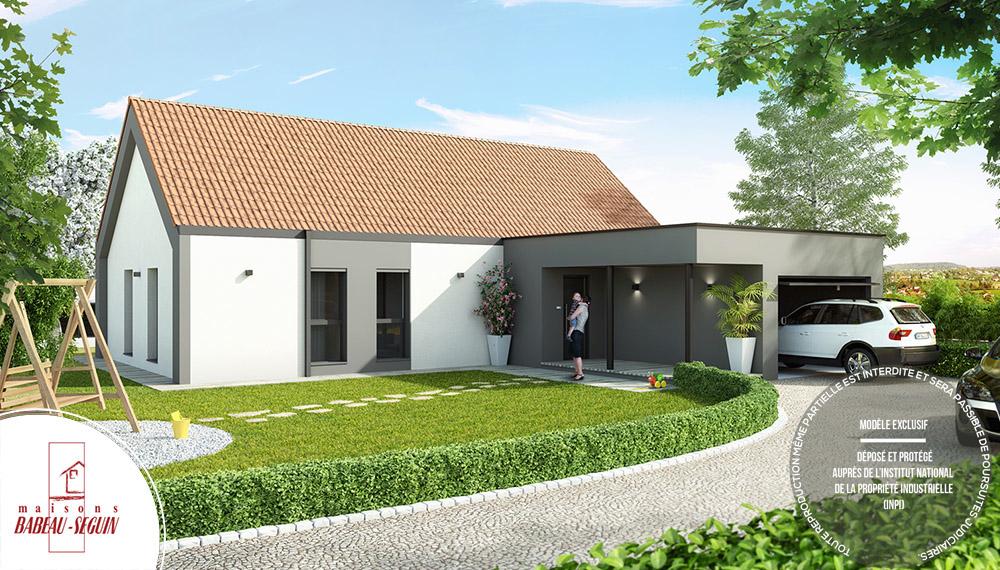 maison architecte atrium avec tuile terre cuite