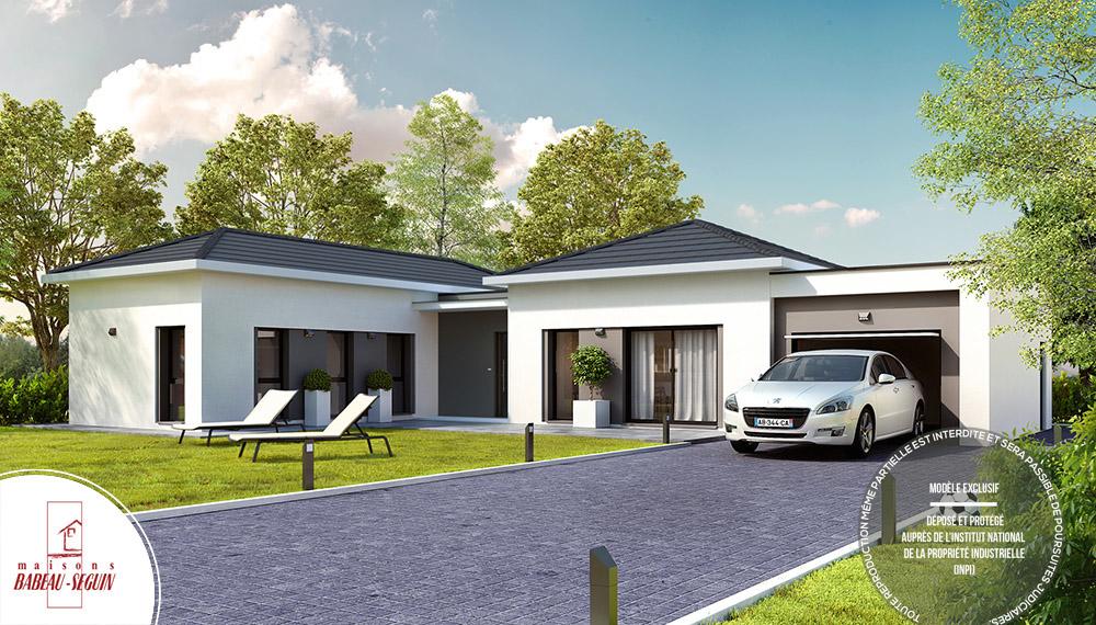 harmonie maison contemporaine plain pied avec toiture 4 pans