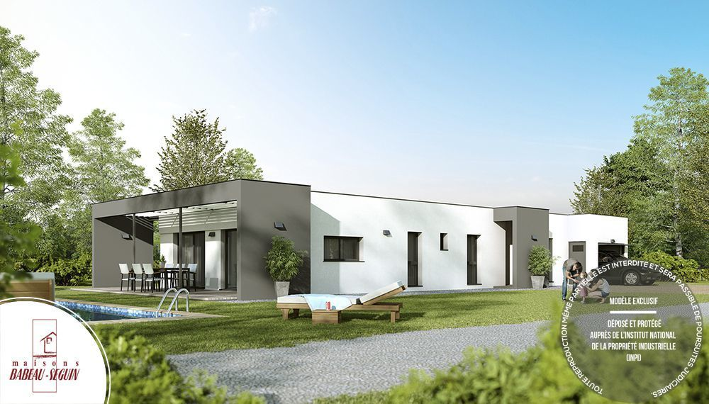 Pergola maison moderne plein pied