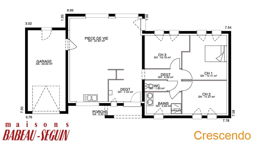 Crescendo mod le de maison contemporaine plan architecte for Plan maison architecte contemporaine