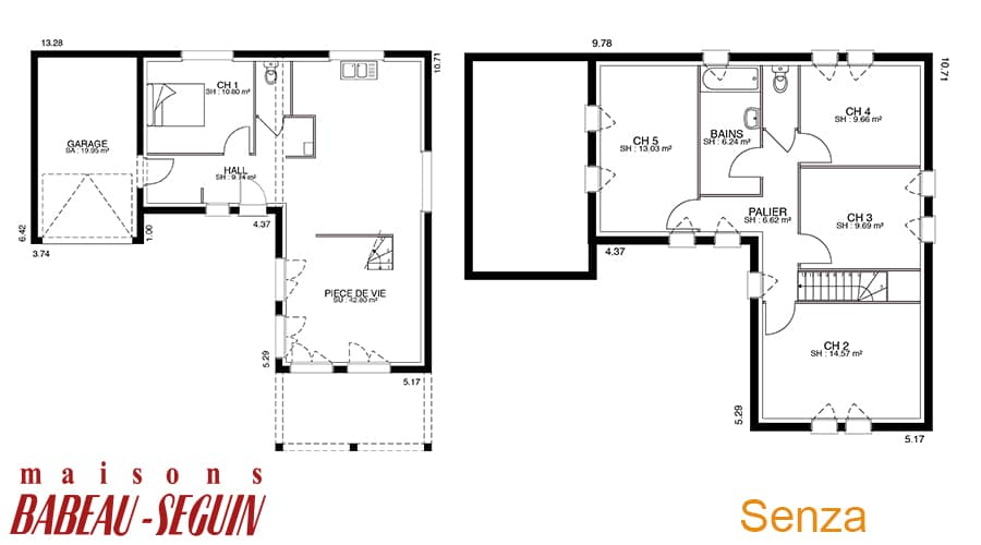 Senza maison moderne tage for Plan maison babeau seguin