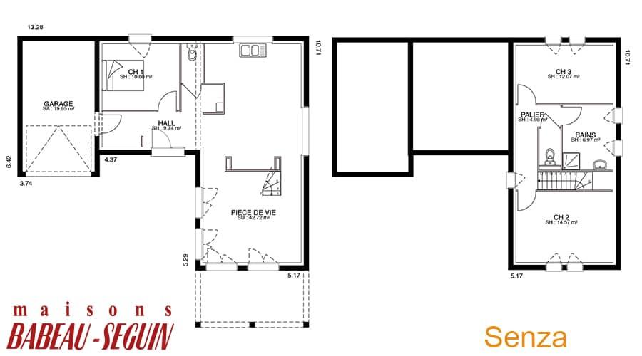 plan maison contemporaine senza B