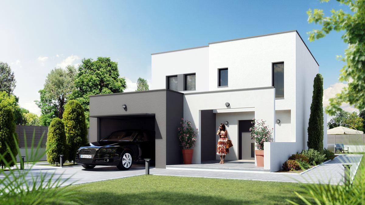 maison moderne à etage à toit plat