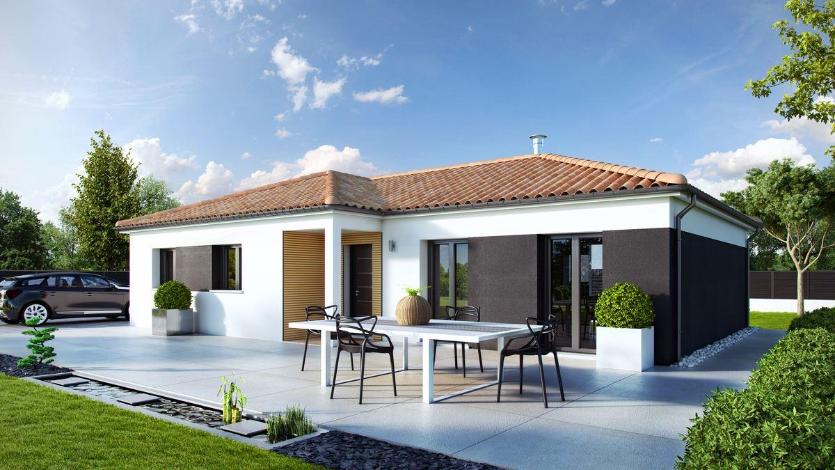 maison neuve avec plan en L et piscine