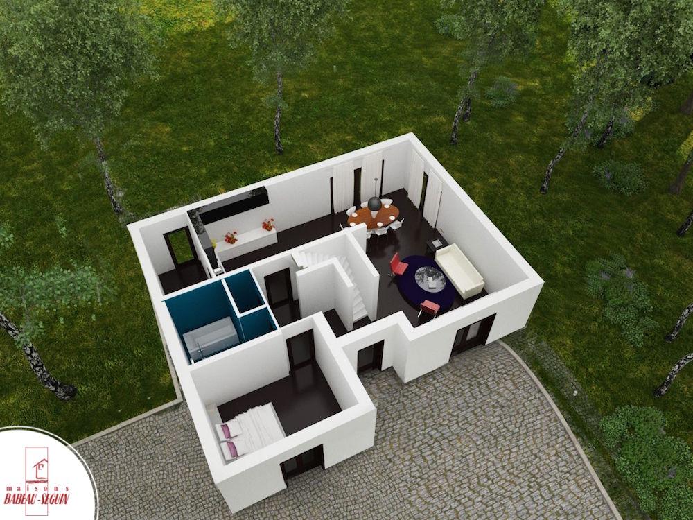 Chatelière 1plan maison 3D interieur
