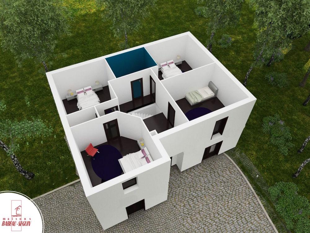 Chatelière plan maison 3D interieur