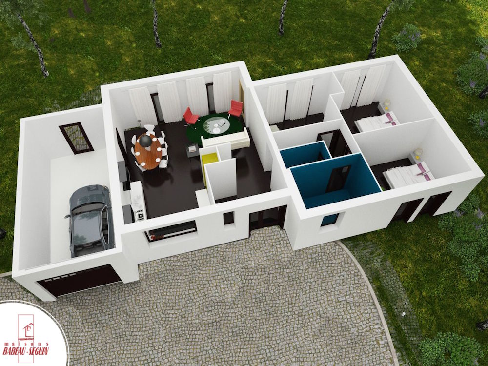 Crescendo mod le de maison contemporaine plan architecte for Maison moderne plan 3d