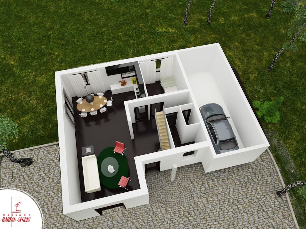 Domainière étage  1plan maison 3D interieur