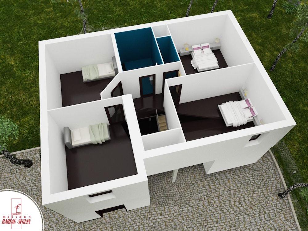 Domainière étage  plan maison 3D interieur
