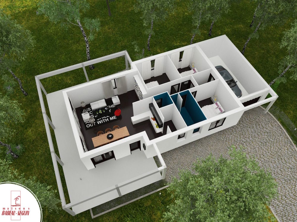 Maison d 39 architecte contemporaine for Plan maison interieur 3d