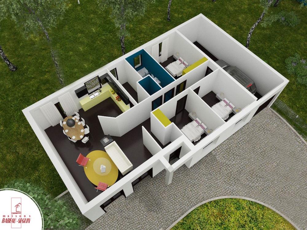 Perrière plan maison 3D interieur