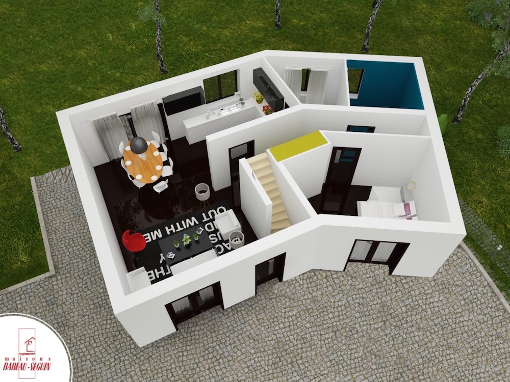 Versi re maison en v tage for Maison interieur 3d