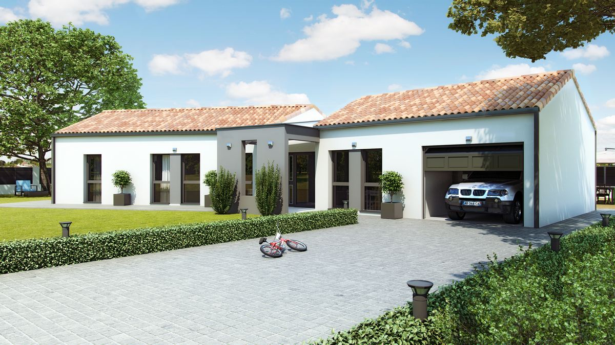 maison moderne avec plan en V et tuiles canal