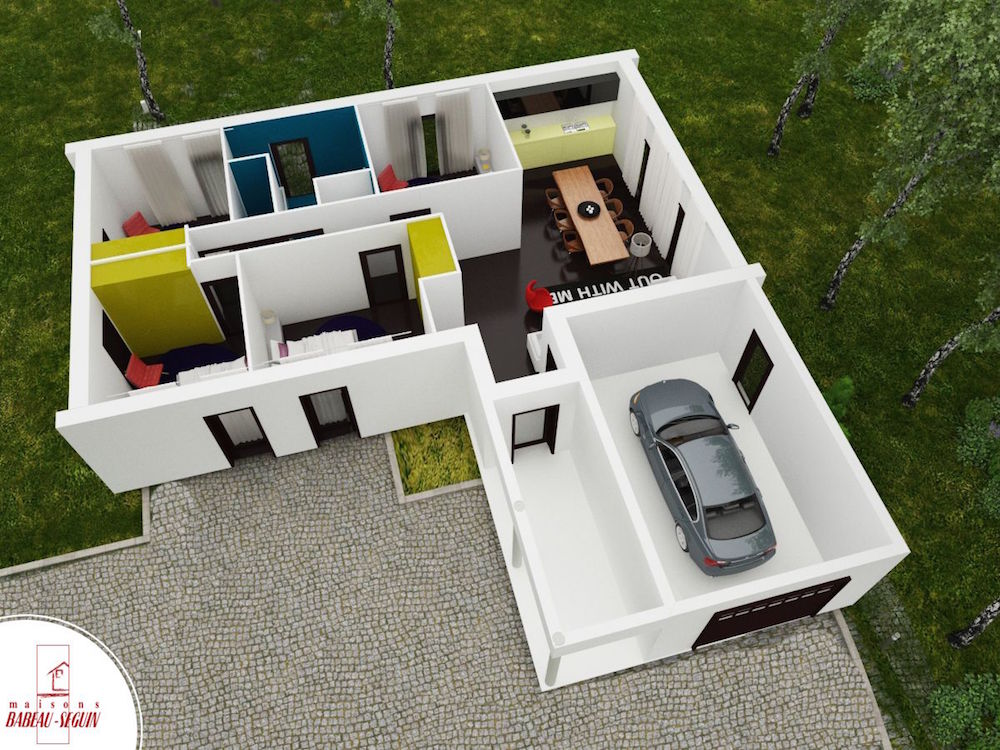 Maison contemporaine atrium architecte for Maison plan 3d
