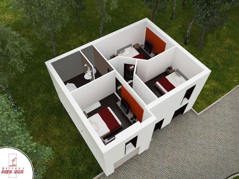boissiere haut plan maison 3D interieur