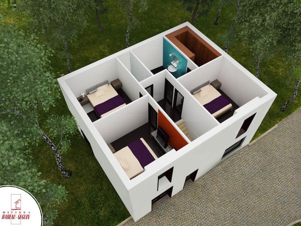 briere haut plan maison 3D interieur