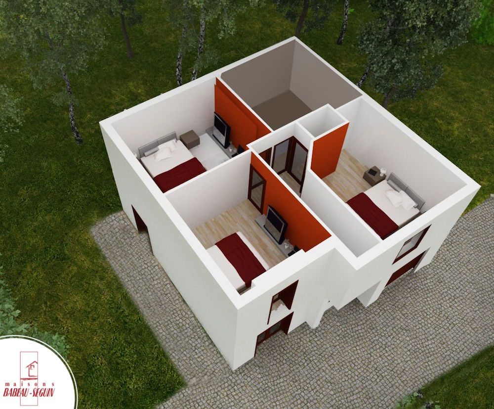 Maison moderne avec plan en l for Modele maison 5 chambres