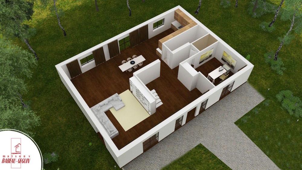 gentilhommiere bas plan maison 3D interieur