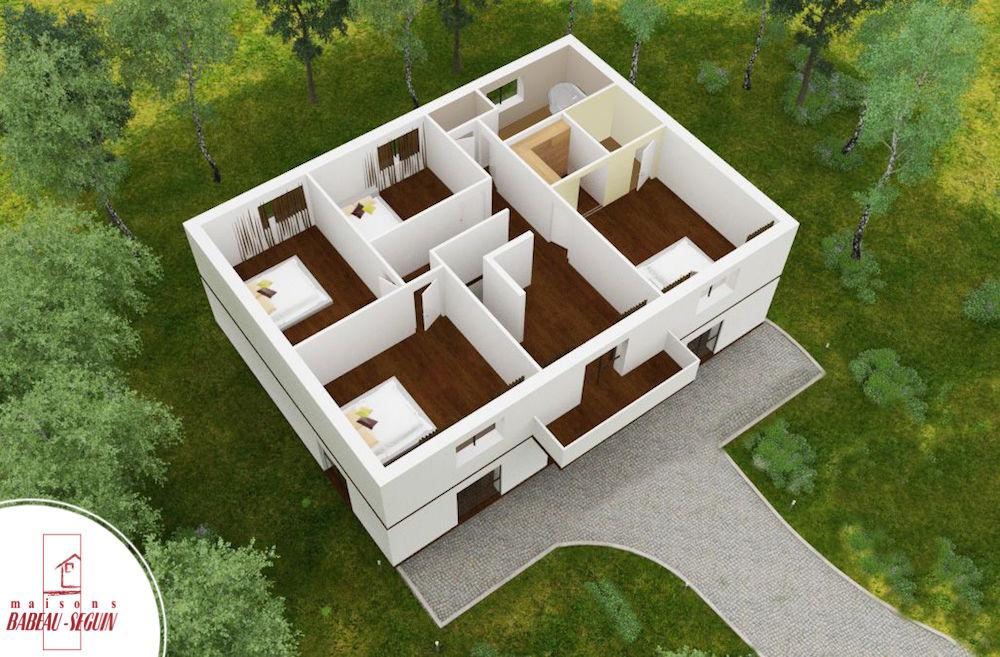 gentilhommiere haut plan maison 3D interieur
