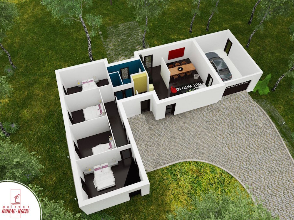 Maison contemporaine plain pied mod le harmonie for Maison moderne plan 3d