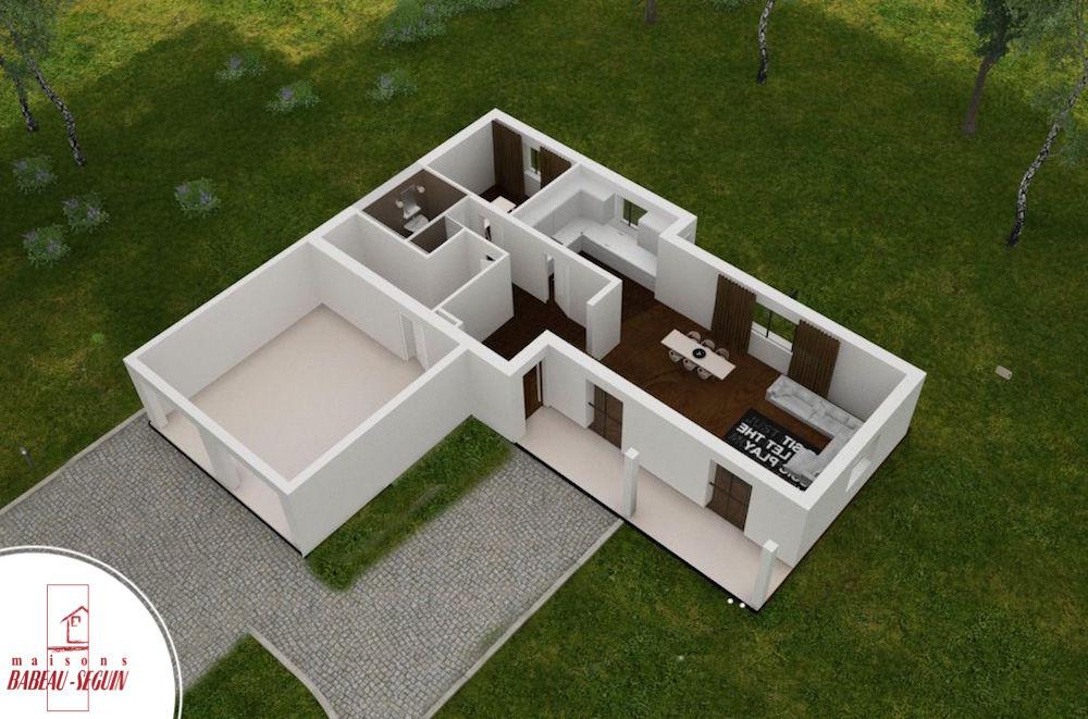 provenciere bas plan maison 3D interieur