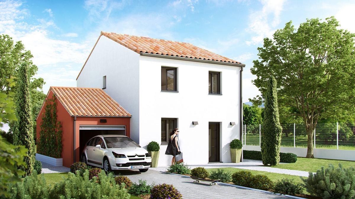 maison provençale neuve avec gaage acolé et etage dalle beton