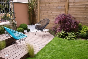 Terrasse et jardin moderne, coin zen