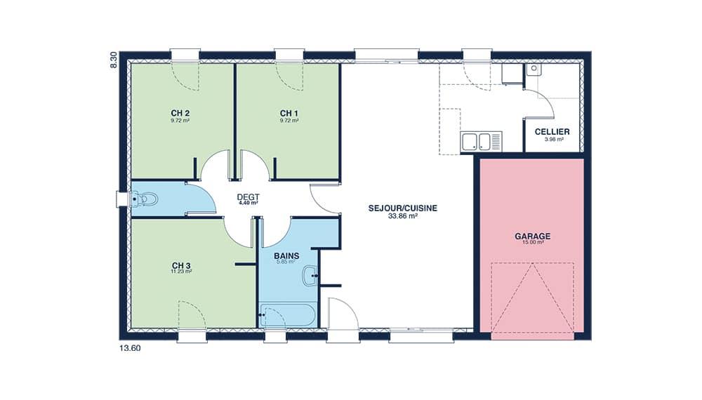 Selection De Plan De Maison Avec 3 Chambres 5